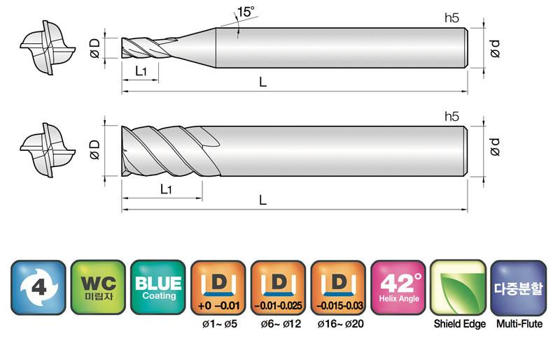 Elmec Carbide Tools 4NSE 4 Flutes End Mills for Heavy Cuts